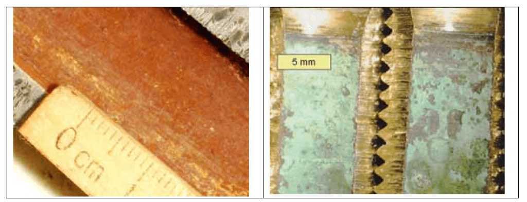 Figure 4. Macrophotograph of lead (left) and brass (right) is shown on the photo.