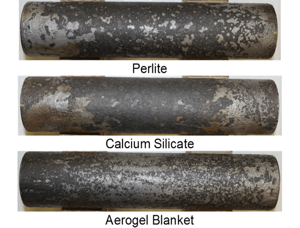 Figure 3: Magnetite formation on carbon steel pipes installed with Thermo-1200™ calcium silicate, Sproule WR-1200 perlite and the tested silica aerogel blanket after high-temperature wet and dry cycling conditions for 6 months.