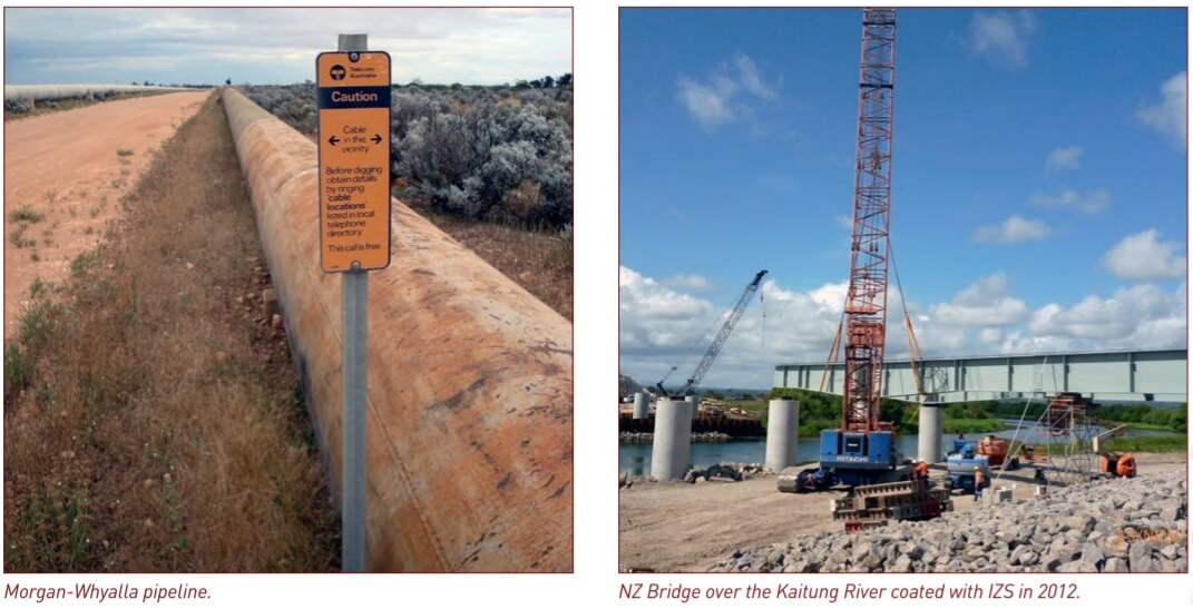 Figure 1 and 2. Morgan-Whyalla pipeline and NZ Bridge over the Kaitung River coated with IZS in 2012.