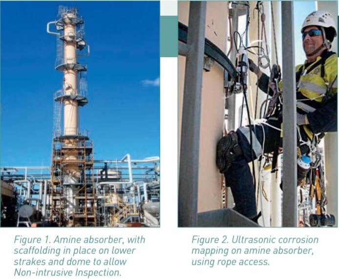 Figure 1 and 2. Scaffolding and rope access for inspections.