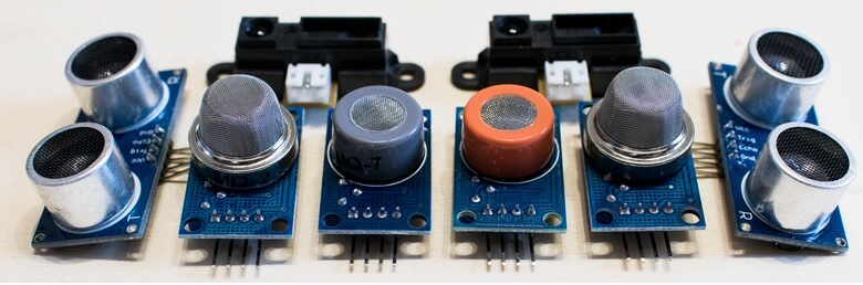Figure 1. A variety of sensors, including sensors for ultrasonic, methane gas, carbon monoxide and CO2 monitoring.