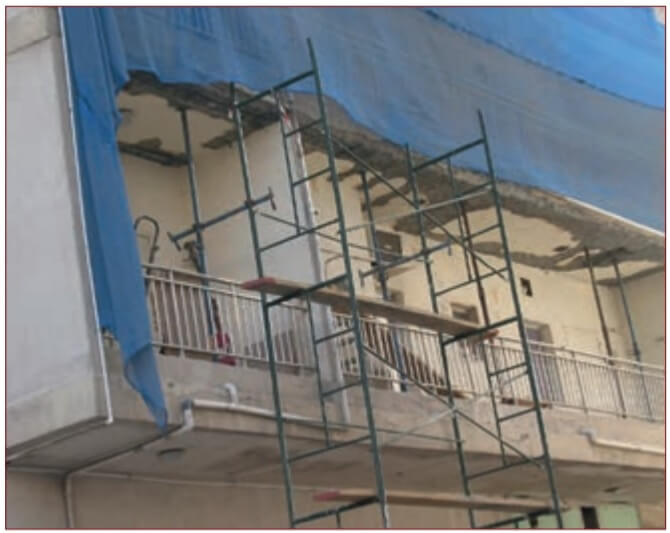 Figure 5. Repair of balcony concrete corrosion and spalling due to multiple factors.