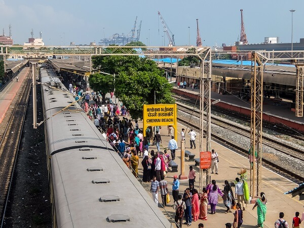 Figure 1. View of the Chennai Beach railway station. Chennai Port in background.