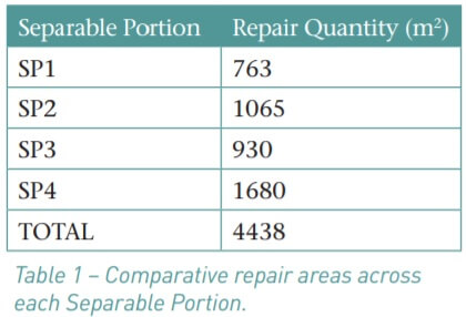 Table 1. Comparative repair areas across each Separable Portion.