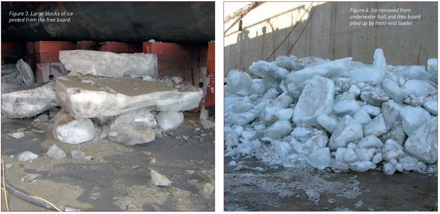 Figure 3 and 4. Large blocks of ice removed from ship's hull.