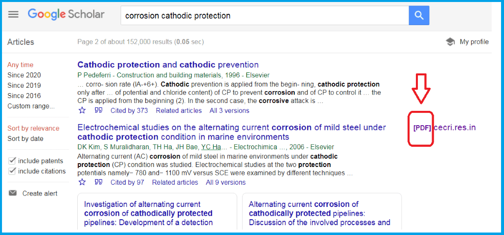 Figure 1. Searching for scientific and technical books and articles on Google Scholar.