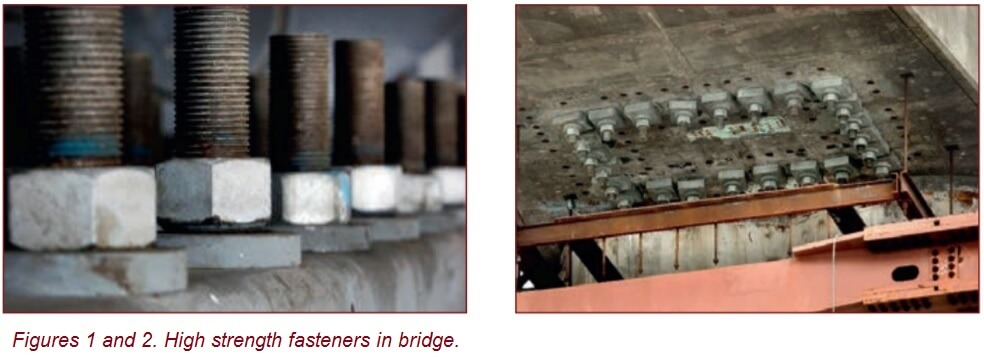 Figure 1 and 2. High strength fasteners in bridge.