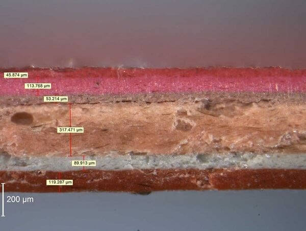 Microscopic image of a coating, side view.