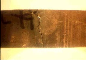 Figure 1. Stress corrosion cracking caused by chlorides leaching from insulation onto stainless steel's hot metal surface.