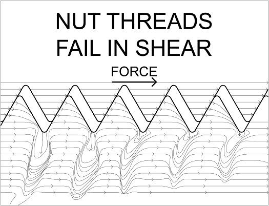 nut threads fail in shear: overtapped nut where force is concentrated on the peaks of threads