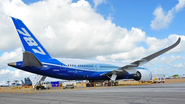 Figure 1. Picture of Boeing 787 aircraft made with lightweight carbon composite materials.