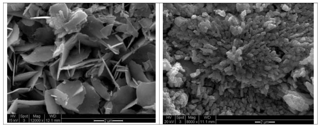 Figure 8. Scanned images of Pb carbonate (left) and Pb oxide (right).