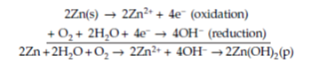 oxidation and reduction equation with zinc and hydrogen