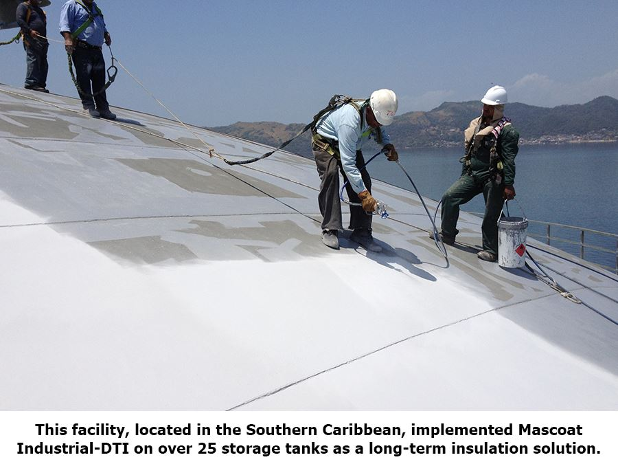 Figure 2. Applying a thermal insulating coating to a storage tank roof.