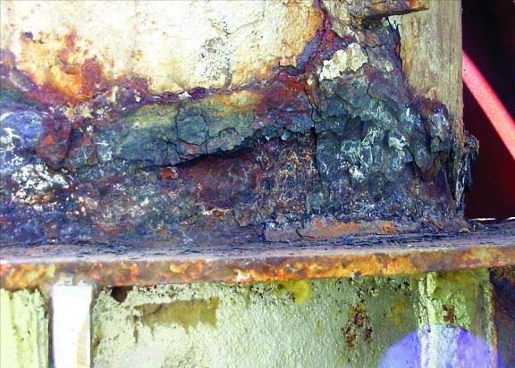 corrosion under insulation (CUI) near continuously welded insulation support ring or stiffener
