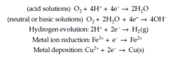 chemical equations for acid solutions, neutral or basic solutions, hydrogen evolution, metal ion reduction, and metal deposition