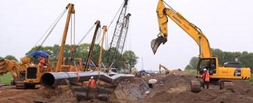 buried pipeline in corrosive soil