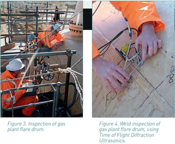 Figure 3 and 4. inspection of flare drum and welding using TOFD.