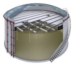 Figure 1. Aboveground storage tank with domed roof; cutaway view.