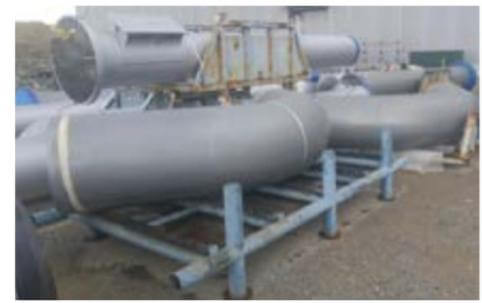 Pipe spools coated with alkylated amine epoxy technology.