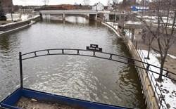 View of river water in Flint, Michigan