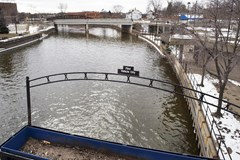 View of river water in Flint, Michigan