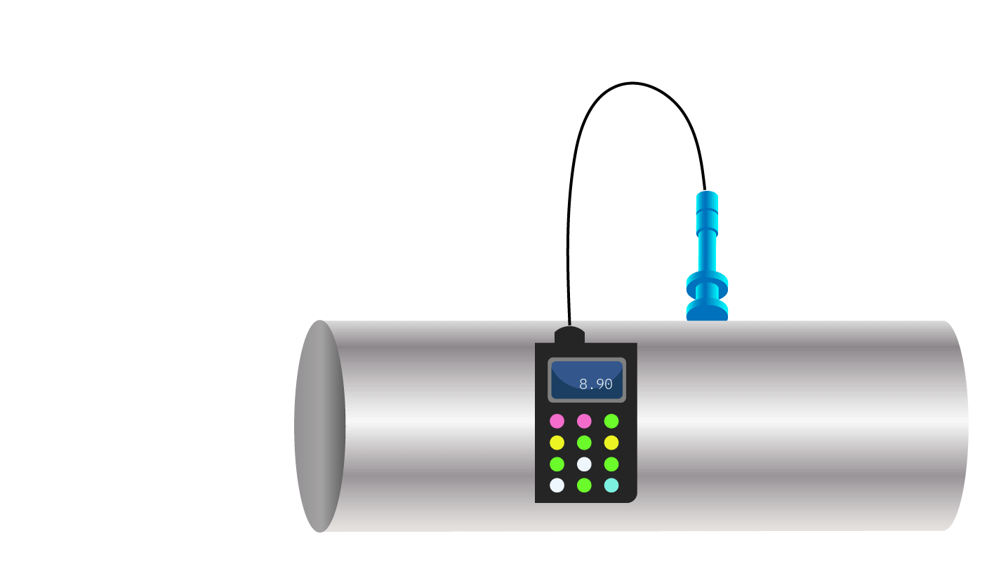 Figure 2. Remaining wall thickness measurement.
