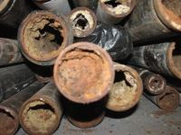 Rust deposits inside pipes.