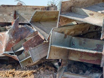 Rusty steel i-beams corrosion