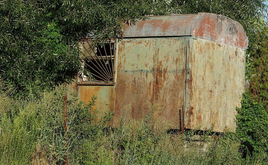Old iron trailer with rust