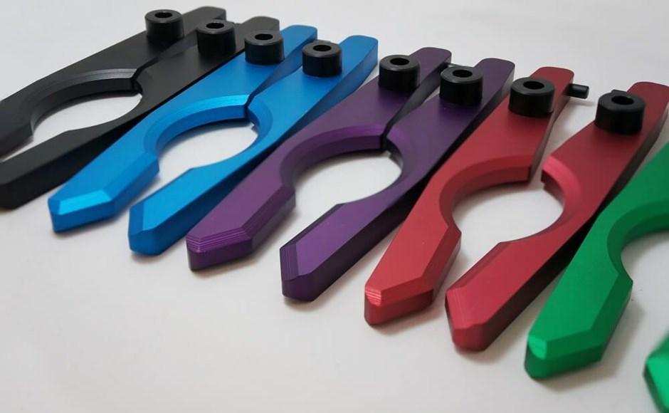 Anodized aluminum parts.