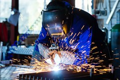 Welder performing a welding operation.