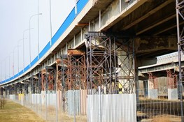 Metal bridge with corrosion being repaired