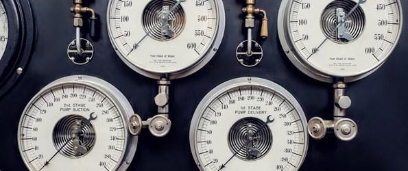 Several steam gauges.