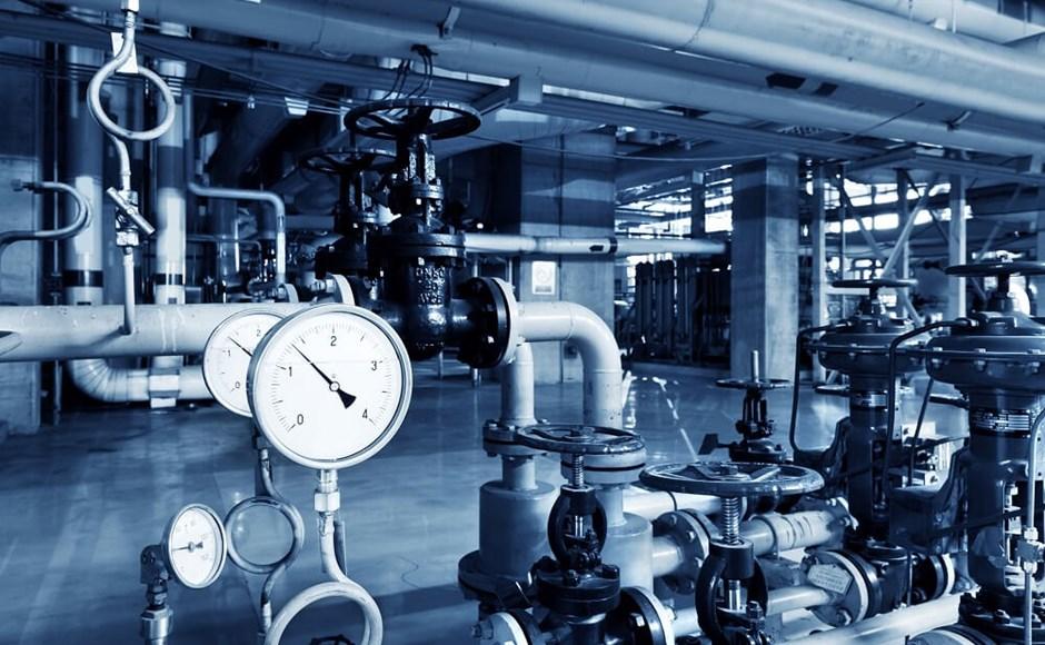 Boiler room equipment for heating system.