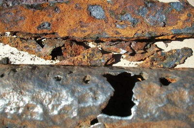 Pipe failure caused by corrosion under insulation.