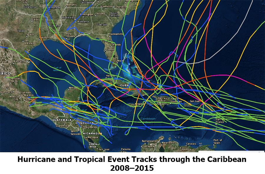 Hurricane and tropical event storm tracks through the Carribbean.