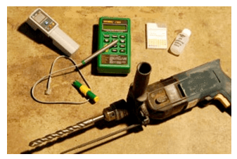 Test instruments for measuring humidity levels in concrete.