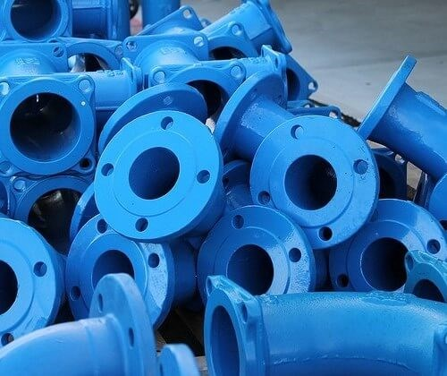 Pipes coated in blue paint