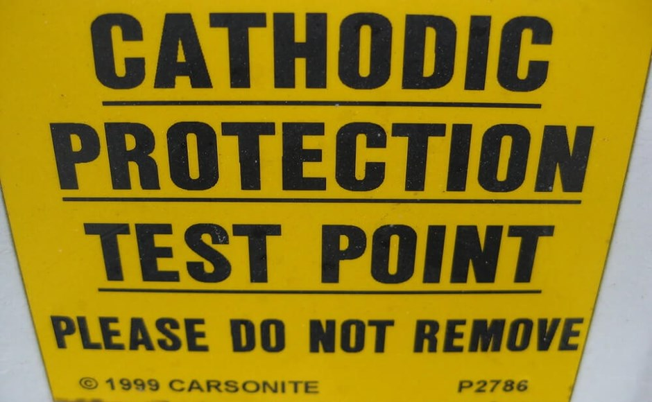 Sign indicating a cathodic protection test point.