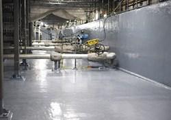 Polyurea coating on a factory floor.